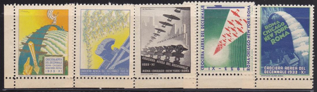 1933 Italian Air Race Poster Stamp Set