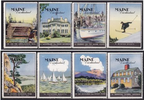 Poster Stamps, Maine #1-8
