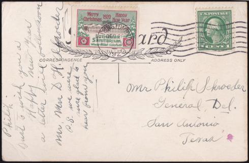 Rare 1920 US Local TB Christmas Seal, Wheat Ridge Tied On