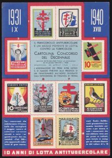 1940 Italian TB Christmas Seal Postcard