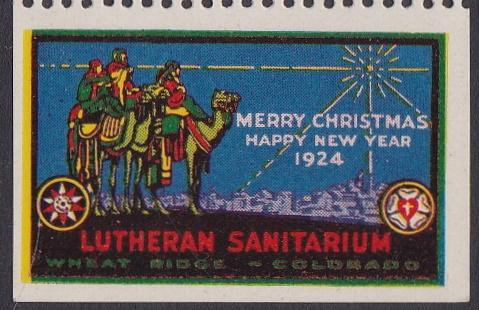 1924 Wheat Ridge US Local TB Christmas Seal - Type Three