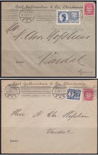 #1 1906 & #2 1907 Norwegian TB Christmas Seal tied on proving reversal of dates of issue.