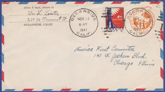 America First tied on 11-13-41 Oceanside, CA