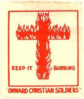 KKK burning cross label