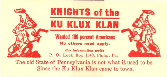KKK label, 100% Americans, no others need apply, PA chapter