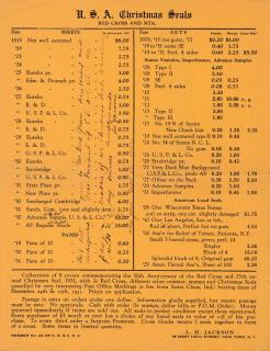1932 L. H. Jackson Christmas Seal Pricelist