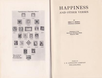 1927 first edition Happiness and Other Verses, by Emily Bissell, frontispiece and title page