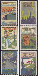 Poster Stamps for tourism, Aurora, IL.