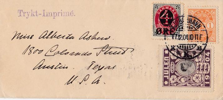 Denmark 1904 Christmas Seal tied on very small cover