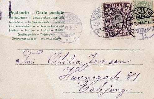 1904 Danish Christmas Seal tied on postcard