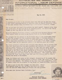 International Labor Defense Scottsboro Boys Fundraising Letter