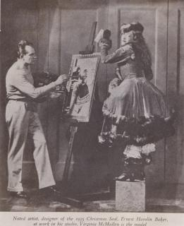 1935 Christmas Seal artist Ernest Hamlin Baker with model for Christmas Seal Virginia McMullen