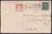 1907 type 1 with 3 city cancels - machine flag cancel Reading, PA 12-24-07, hand cancels Sellersville, PA 12-26-07 & Robsonia PA